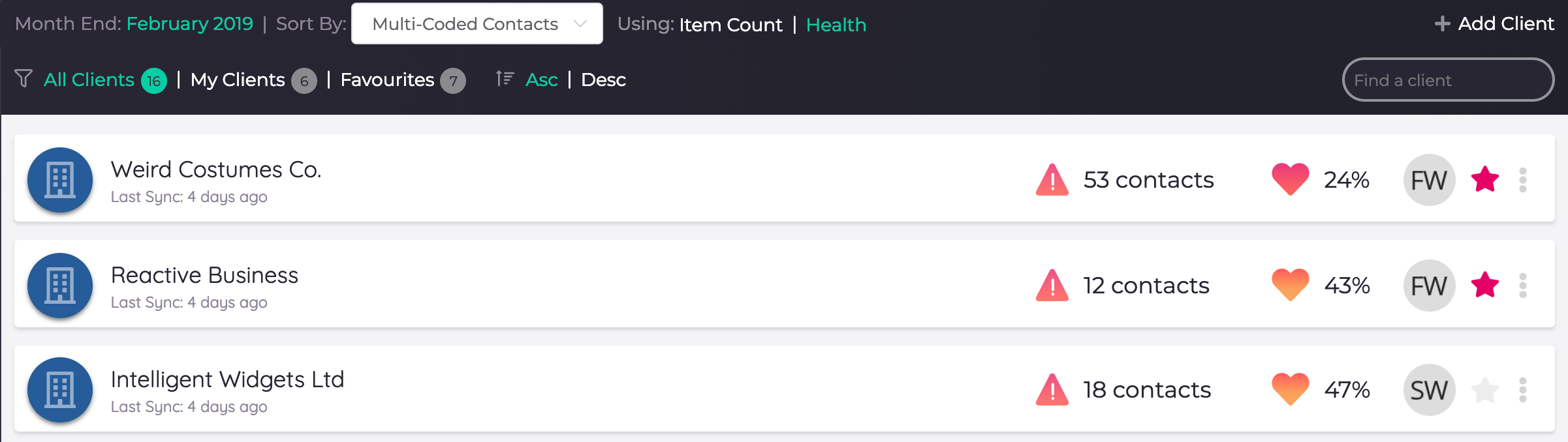 Client List sorted by Multi-Coded Contacts Health Score